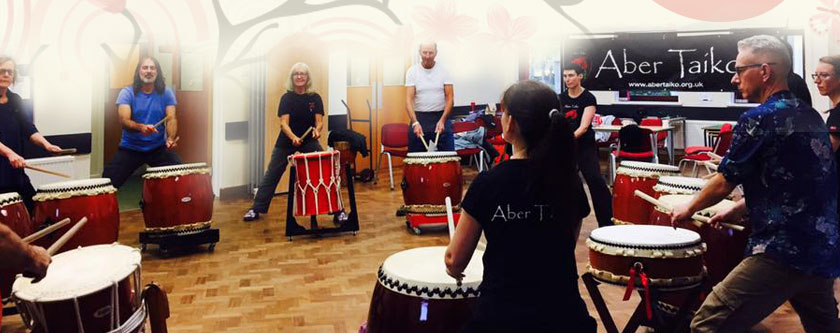 Group playing taiko in a previous workshop